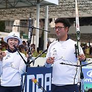 Roma 03/09/2017 Stadio dei Marmi<br /> Hyundai Archery World Cup - Finale<br /> Finale Ricurvo Misto<br /> la coppia vincitrice i coreani Chang Hye Jin e Kim Woojin