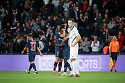 Moussa DIABY (PSG) scored a goal and be greated by Edinson Roberto Paulo Cavani Gomez (El Matador) (El Botija) (Florestan) (PSG) in arms, Ole SELNAES (AS Saint-Etienne), Juan Bernat (PSG) during the French Championship Ligue 1 football match between Paris Saint-Germain and AS Saint-Etienne on September 14, 2018 at Parc des Princes stadium in Paris, France - Photo Stephane Allaman / ProSportsImages / DPPI