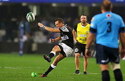 Curwin Bosch of the Sharks kicks a penalty during the Currie Cup match between the The Sharks and The Blue Bulls held at King's Park, Durban, South Africa on the 27th August 2016<br /> <br /> Photo by:   Anesh Debiky / Real Time Images