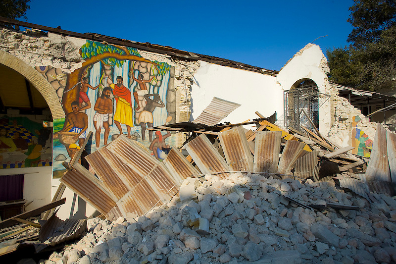 Sainte Trinite Episcopal Cathedral, a cultural landmark, collapsed during the earthquake. Port Au Prince, Haiti. Photo by Ben Depp.1/20/2010.
