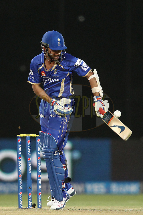 Ajinkya Rahane of the Rajasthan Royals plays a delivery down the leg side during match 23 of the Pepsi Indian Premier League Season 2014 between the Delhi Daredevils and the Rajasthan Royals held at the Feroze Shah Kotla cricket stadium, Delhi, India on the 3rd May  2014<br /> <br /> Photo by Shaun Roy / IPL / SPORTZPICS<br /> <br /> <br /> <br /> Image use subject to terms and conditions which can be found here:  http://sportzpics.photoshelter.com/gallery/Pepsi-IPL-Image-terms-and-conditions/G00004VW1IVJ.gB0/C0000TScjhBM6ikg