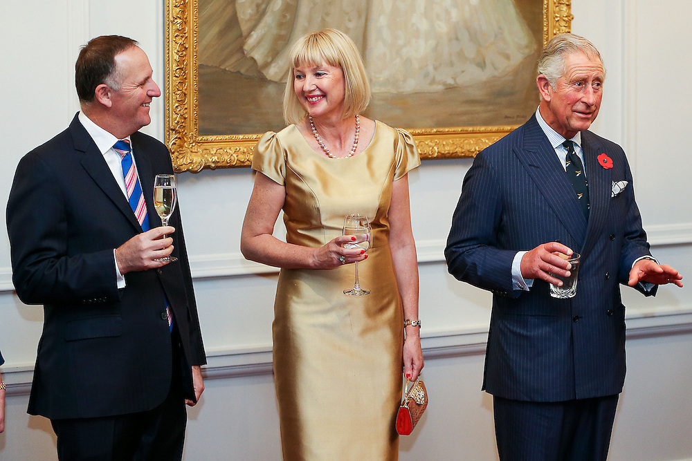 Prince Charles, Prince of Wales, speaks while Prime Minister John Key and Lady Janine Mateparae look on during a State Reception at Government House , Wellington, New Zealand, Wednesday, November 04, 2015. Credit:SNPA / Getty, Hagen Hopkins **POOL**