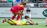 BRUSSEL - Kathryn Slattery (Aus.) with Xantal GINE (SPA)     during AUSTRALIA v SPAIN , Fintro Hockey World League Semi-Final (women) . COPYRIGHT KOEN SUYK