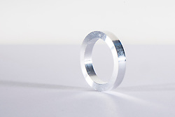 silver metal ring white background