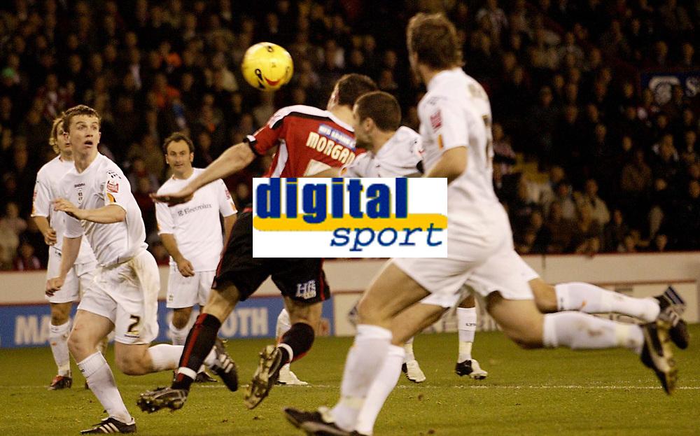 Photo: Aidan Ellis.<br /> Sheffield Utd v Luton Town. Coca Cola Championship.<br /> 01/11/2005.<br /> Sheffield's Chris Morgan leaps to score the sedcond goal with his head