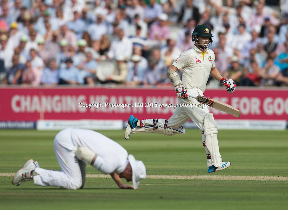 Chris Rogers runs past a floored Ben Stokes during the 2nd Investec Test Match between England and Australia at Lord's Cricket Ground, London. Photo: Graham Morris (Tel: +44(0)20 8969 4192 Email: sales@cricketpix.com) 16/07/15