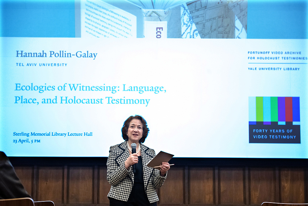 "Photo by Mara Lavitt<br /> April 23, 2019<br /> Sterling Memorial Library Lecture Hall, Yale University<br /> <br /> Hannah Polllin-Galay discusses her book ""Ecologies of Witnessing"" with respondent Deborah Dwork."