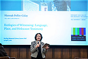 """Photo by Mara Lavitt<br /> April 23, 2019<br /> Sterling Memorial Library Lecture Hall, Yale University<br /> <br /> Hannah Polllin-Galay discusses her book """"Ecologies of Witnessing"""" with respondent Deborah Dwork."""