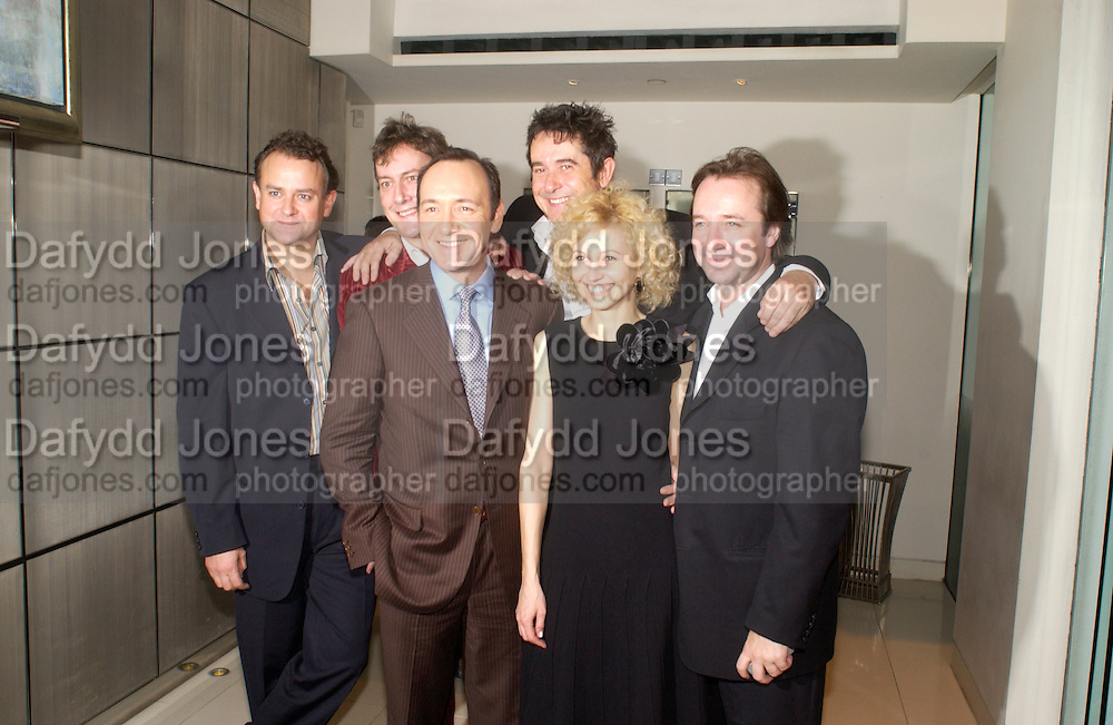 Hugh Bonneville, Stephen Tompkinson, Kevin Spacey, Adrian Lukas, Ingeborga Dapkunaite and Neil Pearson. After show opened at the the Old Vic party for Cloaca, One Aldwych, WC2. 28 September 2004. SUPPLIED FOR ONE-TIME USE ONLY-DO NOT ARCHIVE. © Copyright Photograph by Dafydd Jones 66 Stockwell Park Rd. London SW9 0DA Tel 020 7733 0108 www.dafjones.com
