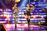 Nicki Minaj and Ariana Grande performing at the iHeartRadio Music Festival in Las Vegas, Nevada on Sepembter 20, 2014.