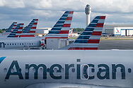 American Airlines airplanes sit at concourse C at Charlotte Douglas International Airport in Charlotte, NC., August 3, 2018. Photo by Ken Cedeno/UPI