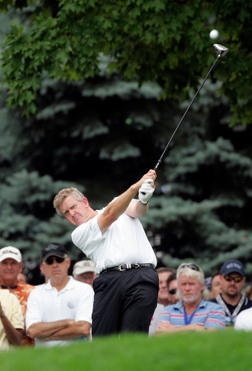 Colin Montgomerie hits a tee shot on the 18th hole during a practice round at Baltusrol Golf Club Springfield, NJ Tuesday 9 August 2005.