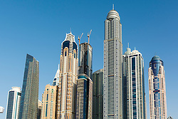 Many apartment building skyscrapers in Marina District of Dubai, United Arab Emirates