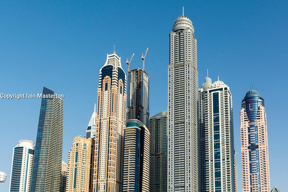Many apartment building skyscrapers in Marina District of Dubai, United Arab Emirates