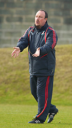 LIVERPOOL, ENGLAND - Wednesday, March 17, 2010: Liverpool's manager Rafael Benitez during training at Melwood Training Ground ahead of the UEFA Europa League Round of 16 2nd Leg match against LOSC Lille Metropole. (Photo by David Rawcliffe/Propaganda)