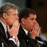 (Boston, MA - 11/16/15) Gov. Charlie Baker and Mayor Martin Walsh prepare to testify in front of the Joint Committee on Mental Health and Substance Abuse to urge the passage of opioid legislation at the State House, Monday, November 16, 2015. Staff photo by Angela Rowlings.