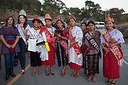 Numerous municipal queens from the Department of Huehuetenango arrive to the ancient Mayan site of Zaculeu on the eve before the end of the Mayan era known as 13 Baktun. Huehuetenango, Huehuetenango, Guatemala. December 20, 2012.