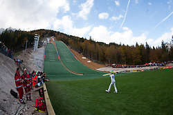 View on the hill and jumper during Slovenian summer national championship and opening of the reconstructed Bloudek's hill in Planica on October 14, 2012 in Planica, Ratece, Slovenia. (Photo by Matic Klansek Velej / Sportida)