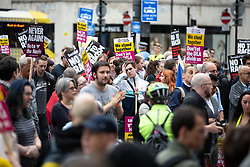 © Licensed to London News Pictures . 02/06/2018. Manchester, UK. Approximately 150 antifascists hold a counter demonstration in St Peter's Square as the Democratic Football Lads Alliance demonstrate in Manchester , eleven days after the first anniversary of the Manchester Arena terror attack . Photo credit : Joel Goodman/LNP