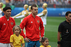 June 14, 2018 - Moscow, Russia - Russian Federation. Moscow. The Luzhniki Stadium. Match Opening of the World Cup 2018. Russia - Saudi Arabia. Solemn opening ceremony of the FIFA World Cup 2018. FIFA World Cup 2018. Player of the Russian national football team (in red) Igor Akinfeev; (Credit Image: © Russian Look via ZUMA Wire)
