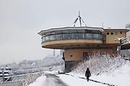 the Bastei on the banks of the river Rhine in the district Neustadt-Nord, snow, winter, Cologne, Germany<br /> <br /> die Bastei am Rheinufer in der Neustadt-Nord, Schnee, Winter, Koeln, Deutschland.