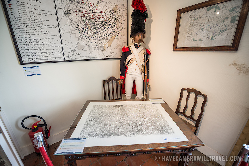 Maps of the Battle of Waterloo at the farmhouse known as Ferme du Caillou. Next to the field where the Battle of Waterloo took place in 1815, the farmhouse is famous as the place where Napoleon spent the night before the battle. It is now a museum.