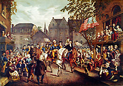 American Revolutionary War (American War of Independence) 1775-1783: George Washington's triumphal entry into New York, 25 November 1783. Late 19th century print.