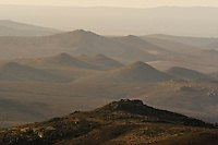 Rolling hills and valleys of Namaqua National Park at dusk, Namaqua National Park, Northern Cape, South Africa,