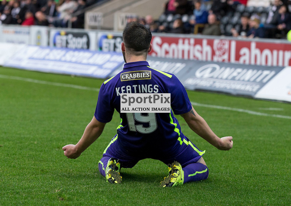 James Keatings (Hibernian) celebrates hibs second goal during the Ladbrokes Championship match between St Mirren v Hibernian at St Mirren Park on Saturday 7 November 2015<br /> <br /> Picture: Alan Rennie