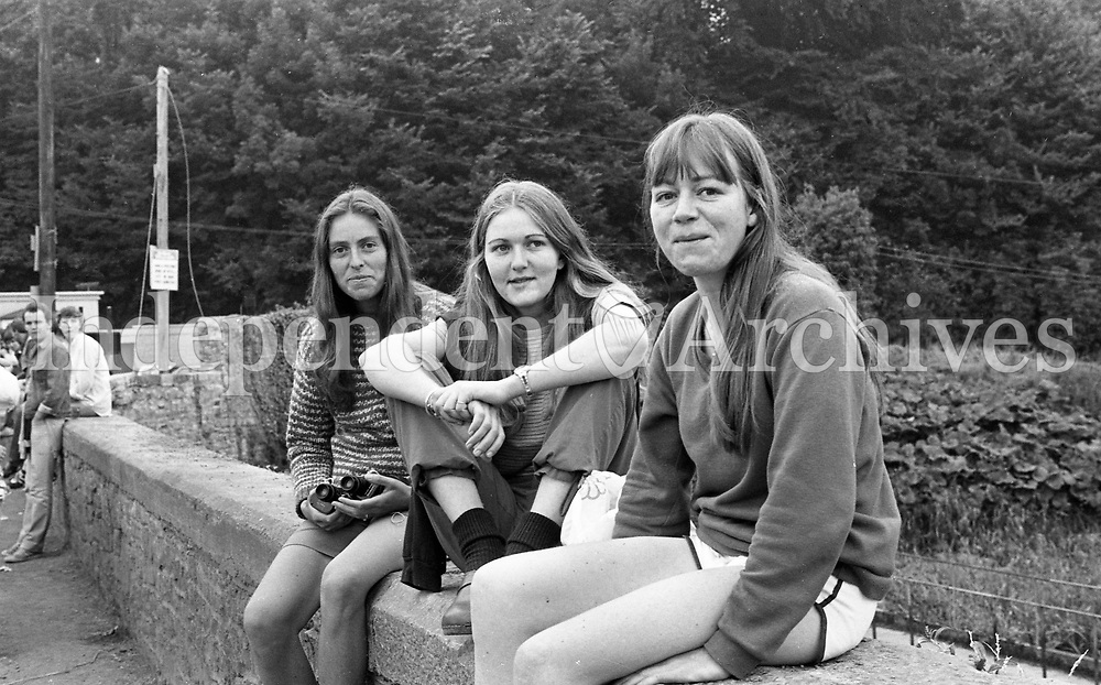 Janet Copley, Roisin and Marie Jehanne MacMahon from Howth at the Slane concert 1981.(Part of the Independent Newspapers Ireland/NLI collection.)