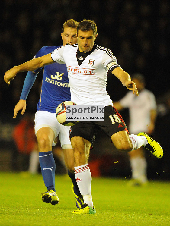 Aaron Hughes, Fulham, Leicester City v Fulham, Capital One Cup, 29th October 2013