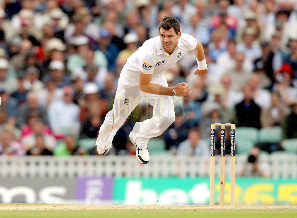 © Andrew Fosker / Seconds Left Images 2012 -  England's James Anderson bowling  completes his delivery in the air -  England v South Africa - 1st Investec Test Match -  Day 2 - The Oval  - London - 20/07/2012