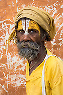Portrait of a sadhu (holy man) at the hindu temples of Pashupatinath, Nepal.