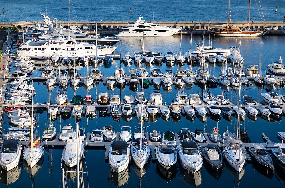 Pleasure boats in Cap-d'Ail Marina, France