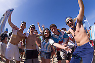 Argentina fans at the FIFA Fan Fest, Copacabana beach, Rio de Janeiro, during the Argentina v Belgium World Cup quarter final match which was shown on big screens.<br /> Picture by Andrew Tobin/Focus Images Ltd +44 7710 761829<br /> 05/07/2014