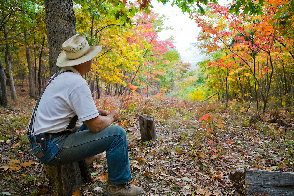 Joel Salatin, a farmer and author, sits in a woodlot at his farm in Virginia's Shenandoah Valley. (Joel Salatin is featured in the book What I Eat: Around the World in 80 Diets.)  MODEL RELEASED.