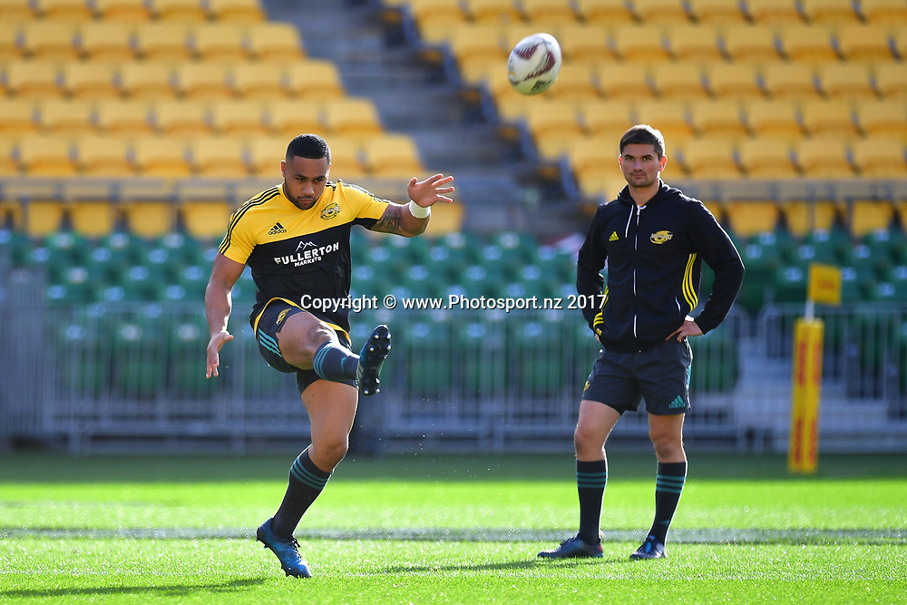 Hurricanes' Ngani Laumape (L) kicks a ball during the Hurricanes captains run at Westpac Stadium in Wellington on Friday the 26th of June 2017. Copyright Photo by Marty Melville / www.Photosport.nz