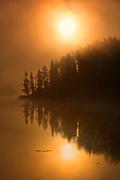 Isabel Lake in fog at sunrise<br />Kenora<br />Ontario<br />Canada