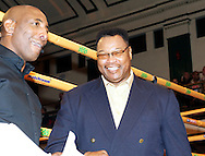 Picture by Alan Stanford/Focus Images Ltd +44 7915 056117<br /> 14/11/2013<br /> Ex World Heavyweight champion Larry Holmes  pictured ringside before the cruiserweight contest at York Hall, Bethnal Green.