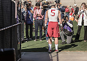 PASADENA, CA - JANUARY 1:  Christian McCaffrey #5 of the Stanford Cardinal pauses before entering the field to warm up before the 102nd Rose Bowl game between Stanford and the Iowa Hawkeyes played on January 1, 2016 at the Rose Bowl stadium in Pasadena, California.  (Photo by David Madison/Getty Images) *** Local Caption *** Christian McCaffrey