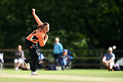 Suzie Bates of Southern Vipers bowling during the Women's Cricket Super League match between Southern Vipers and Surrey Stars at Arundel Castle, Arundel, United Kingdom on 18 August 2019.