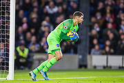 Mathew Ryan (GK) (Brighton) saves the ball during the Premier League match between Brighton and Hove Albion and Aston Villa at the American Express Community Stadium, Brighton and Hove, England on 18 January 2020.