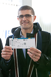 Matjaz Rakovec bought first ticket (VIP for whole tournament for 600€) at Eventim box office after HZS Press conference about official launch of tickets sale for 2012 IIHF Ice Hockey World Championship Division I Group A that will be at new arena SRC Stozice, on Januar 18, 2012 at Hala Tivoli, Ljubljana, Slovenia. (Photo By Matic Klansek Velej / Sportida)