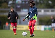 Kembo Kibato (FC Helsingør) under opvarmning til kampen i 2. Division mellem Brønshøj Boldklub og FC Helsingør den 14. september 2019 i Tingbjerg Idrætspark (Foto: Claus Birch)