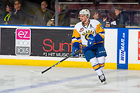 KELOWNA, BC - DECEMBER 01:  Max Gerlach #9 of the Saskatoon Blades warms up against the Kelowna Rockets at Prospera Place on December 1, 2018 in Kelowna, Canada. (Photo by Marissa Baecker/Getty Images)