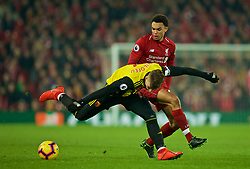 LIVERPOOL, ENGLAND - Wednesday, February 27, 2019: Liverpool's Trent Alexander-Arnold and Watford's Gerard Deulofeu during the FA Premier League match between Liverpool FC and Watford FC at Anfield. (Pic by Paul Greenwood/Propaganda)