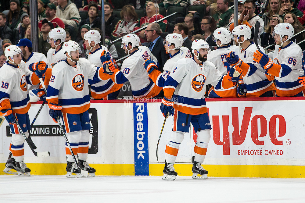 Dec 29, 2016; Saint Paul, MN, USA; New York Islanders defenseman Nick Leddy (2) celebrates his goal with teammates during the second period against the Minnesota Wild at Xcel Energy Center. Mandatory Credit: Brace Hemmelgarn-USA TODAY Sports