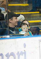 KELOWNA, CANADA - OCTOBER 10:  A young fan is well protected as the Spokane Chiefs visit the Kelowna Rockets on October 10, 2012 at Prospera Place in Kelowna, British Columbia, Canada (Photo by Marissa Baecker/Shoot the Breeze) *** Local Caption ***
