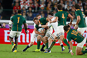 Duane Vermeulen of South Africa is tackled by Owen Farrell and Tom Curry of England during the World Cup Japan 2019, Final rugby union match between England and South Africa on November 2, 2019 at International Stadium Yokohama in Yokohama, Japan - Photo Yuya Nagase / Photo Kishimoto / ProSportsImages / DPPI