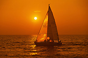 Sailing on Lake Ontario at sunset<br /> St. Catharines<br /> Ontario<br /> Canada